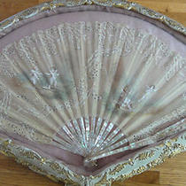 Antique Lace Hand Fan Lace and Mother of Pearl Framed Early 1900's Photo