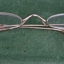 Antique Metal Frame Granny Glasses Oval Lenses Rose Gold Finish No Hallmark Vg Photo