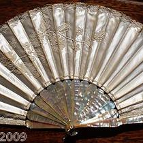 Antique Mother of Pearl and Silk Hand Fan in Your Box Bride Fan Photo