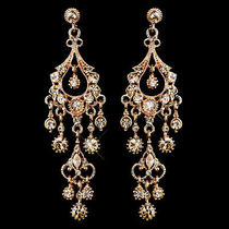 Antique Rose Gold Champagne Crystal Chandelier Earrings 1028  Photo