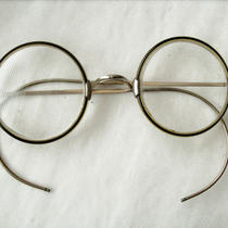 Antique Silver Frame Round Bi-Focal Eye Glasses in Case Strong Prescription Photo