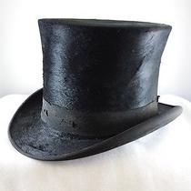 Antique Stove Pipe Beaver Felt Silk Top Hat Christys London  Photo
