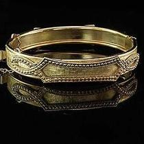 Antique Victorian Whiting & Davis Gold Tone Metal Hinged Bangle Bracelet Photo