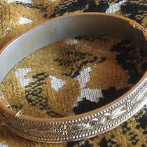 Antique Victorian Whiting & Davis Gold Tone Metal Hinged Bracelet Photo
