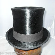 Antique Vintage Black Silk Top Hat   Size 6 7/8 Ascot Christys Photo