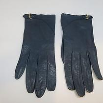 Antique / Vintage Givenchy Leather Designer Gloves Brass or Gold Plated Buckle  Photo