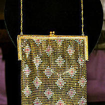 Antique Whiting & Davis Enameled Metal Mesh Purse / Handbag / Flapper Bag Photo