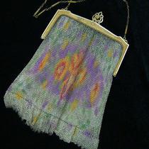 Antique Whiting & Davis Flapper Fine Metal Mesh Dresden Purse Bag Photo