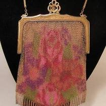 Antique Whiting & Davis Floral Dresden Mesh Flapper Dance Purse Photo