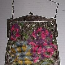 Antique Whiting & Davis Floral Painted Mesh Purse Photo