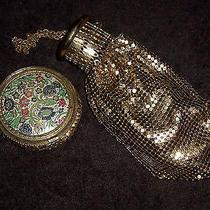 Antique Whitingdavis Gold Mesh Accordian Wristlet Purse W/ Mesh Mirror Compact Photo
