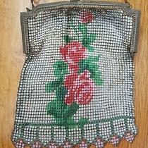 Antique Whiting Davis Silver Tone Chain Mesh Handbag Purse Enamel Floral Design Photo