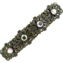 Antiqued Brass French Clip Barrette With Swarovski Elements Photo