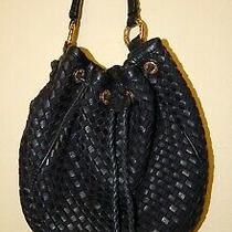 Antonio Melani Handbag Purse Black Large Leather Duffle Bucket Hobo Photo