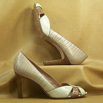 Antonio Melani Lot Beige Croc Print Calf Leather W/tan Trim Open Toe Pumps 7 M Photo