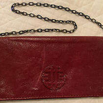 Antonio Melani Red Patent Leather Embossed Moc Croc Clutch W/ Magnetic Closure Photo