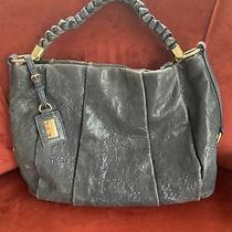 Antonio Melani Womens Gray/blue Italian Leather Hobo Handbag Purse Photo