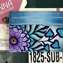 Anuschka Anna Nwtleather Credit Card Case-Summer Bloom Blue 1825-Sub-B Photo
