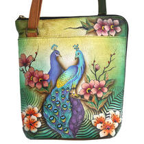 Anuschka Cross Body Travel Organizer Hand Painted Passionate Peacock Birds Photo