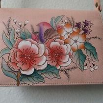 Anuschka Hand Painted Blush Floral & Bird Design Leather Crossbody Purse - Nwt Photo