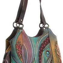 Anuschka Hand Painted Genuine Leather Hobo Satchel Handbag 469 Dnp Photo