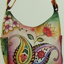 Anuschka Hand Painted Leather Classic Hobo With Studded Side Pockets-Nwt Photo