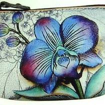 Anuschka Hand Painted Leather Coin Pouch  - Floral Fantasy - New in Wrapper Photo