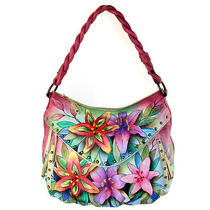 Anuschka Hand Painted Leather Ruched Studded Hobo Handbag Luscious Lilies Photo