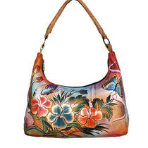 Anuschka Hand Painted Leather Small Hobo Handbag Butterfly Premium Hibiscus  Photo