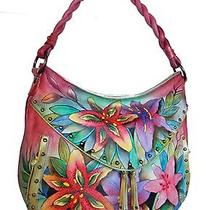 Anuschka Hand Painted Ruched Multi-Pocket Hobo in Luscious Lilies (513) Photo