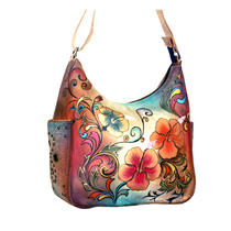 Anuschka Handpainted Leather Hobo Handbag Adjustable Strap Floral Henna Artwork Photo