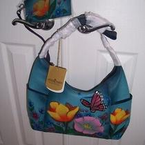 Anuschka Painted Genuine Leather Butterfly Floral Blue Crossbody Hobo Bag Purse Photo