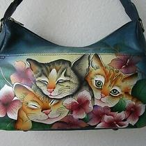 Anuschka Three Kittens Blue Hand Painted Twin Top East-West Hobo Purse - Nwt Photo