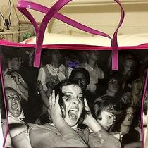 Anya Hindermarch Printed Canvas Grey Pink Tote Bag Purse Italy Photo