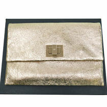 Anya Hindmarch Bag Gold Beige Leather Metal Material Clutch Second Anya Photo