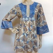Anya Hindmarch Beach Mother of Pearl Embellish Kimono Slev Artsy Blouse Top Sz M Photo