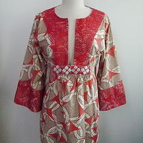 Anya Hindmarch Beach Print Cotton Long Tunic Top With Mother-of-Pearl Details L Photo