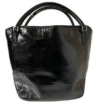 Anya Hindmarch Black Patent Leather Whipstitch Medium Shoulder W/dust Bag (Poor) Photo