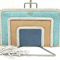 Anya Hindmarch Clutch Bag A2111003000 lt.blue Light Brown Multi Photo