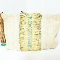 Anya Hindmarch Clutch Bag Beige Green Multi Beads Straw Used Photo