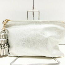 Anya Hindmarch Hind March Clutch Bag - Silver Tassel Leather Second Hand Photo