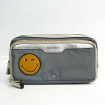 Anya Hindmarch Smile Women 'S Leather Nylon Clutch Bag Gray Photo