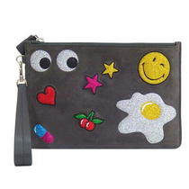 Anya Hindmarch Suede Mini Pouch Gray Handbags Clutch Bag Women Photo