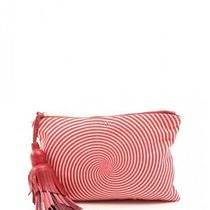 Anya Hindmarch the Courtney Clutch Bag Canvas Leather Red White Photo