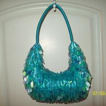 Ap-10     Womans Aqua Blue Beaded Satchel Handbag/purse Photo