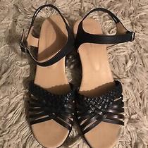 Apc Apc Navy Blue Low Wedge Strappy Sandal Shoe Womens 40 Garconne Totokaelo Photo