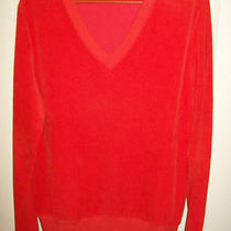 Apc Blood Orange Ribbed v-Neck Sweatshirt Sz 3 Bright Color Super Soft a.p.c. Photo