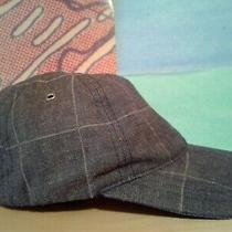 Apc Men's Blue/gray Plaid Linen Hat W/leather Strap Size U Made in Portugal Photo