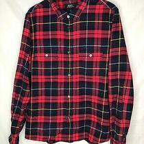 Apc Men's Flannel Button Down Plaid Shirt Red Blue Size L Large Photo