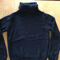 Apc Navy Blue Chunky Wool Turtle Neck Xs Made in Italy Mock Acne Cotton Photo